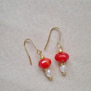 Boucles d'oreilles Corail et Perles d'eau douce