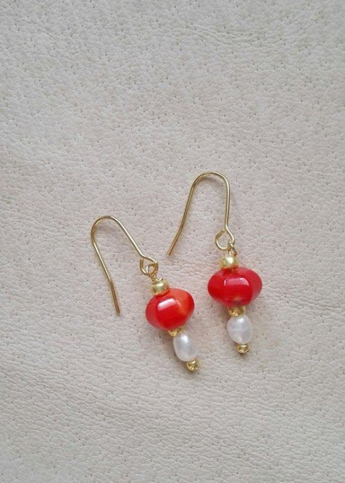 Boucles d'oreilles en Corail et Perles d'eau douce